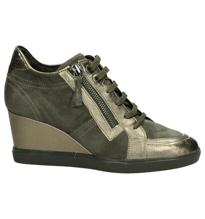 Geox Taupe Sleehaksneakers in daim (182860)