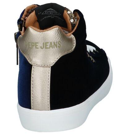 Donkerblauwe Hoge Velours Sneakers Pepe Jeans Stark Sequins in velours (225520)