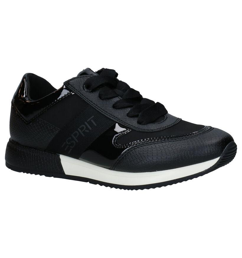 Esprit Mallorca Zwarte Sneakers in kunstleer (279621)