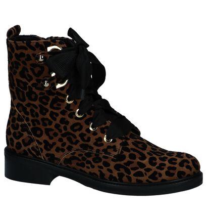 Boots met Rits/Veter Maripé met Luipaardprint in daim (248845)
