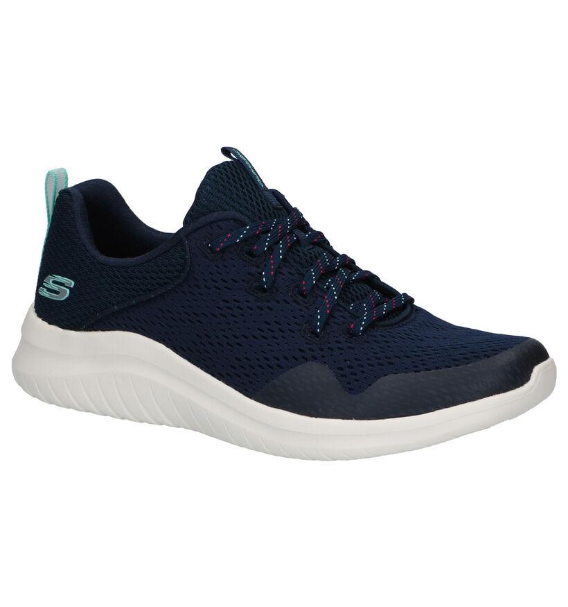 Skechers Ultra Flex 2.0 Baskets en Bleu en textile (279334)
