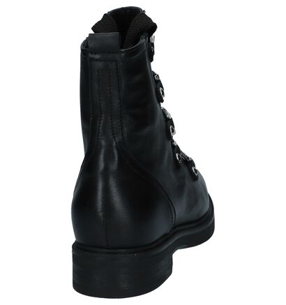 Via Limone Yoo Tersa Zwarte Boots met Rits/Veter in leer (223828)