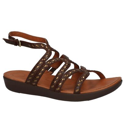 FitFlop Strate Gladiator Sandals Whipstitch Leather Zwart, Bruin, pdp