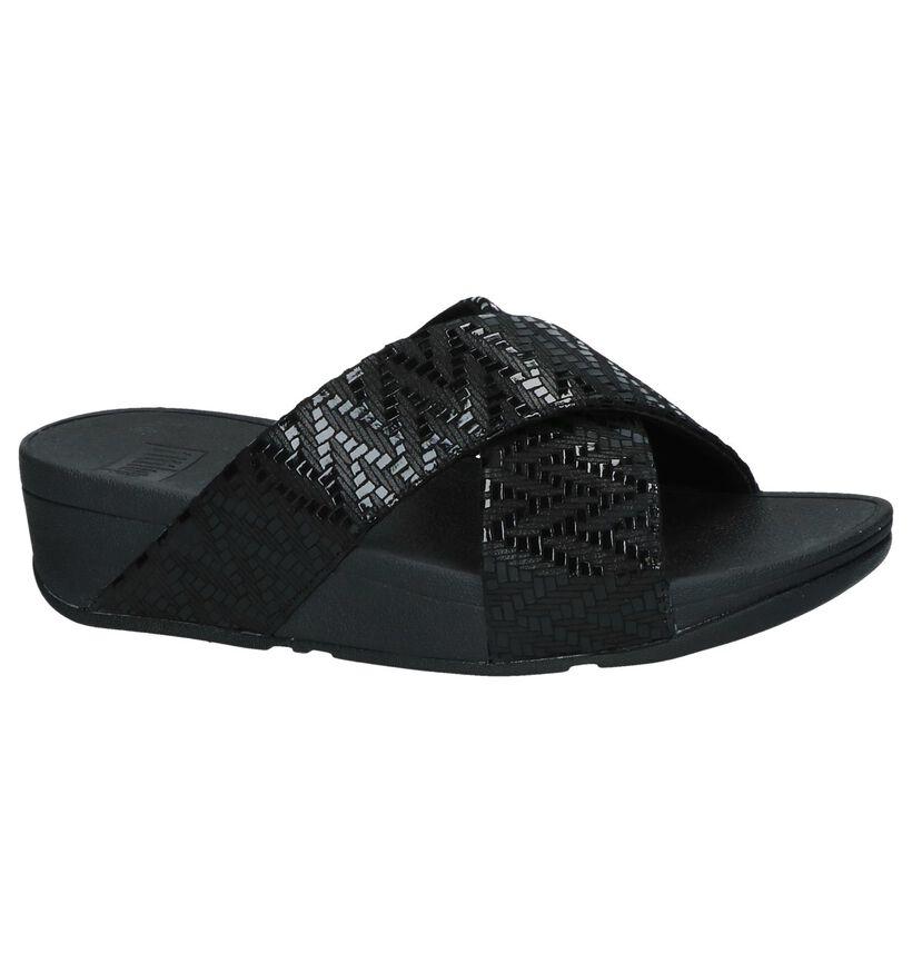 Zwarte FitFlop Lulu Chevron Suede Slippers in kunststof (240101)