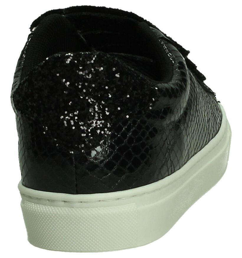 Zwarte Dazzle Sneakers met Slangenprint in lakleer (191702)