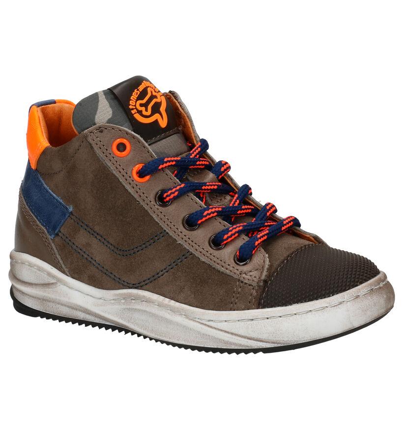 STONES and BONES Slide Chaussures à lacets en Kaki en cuir (278915)