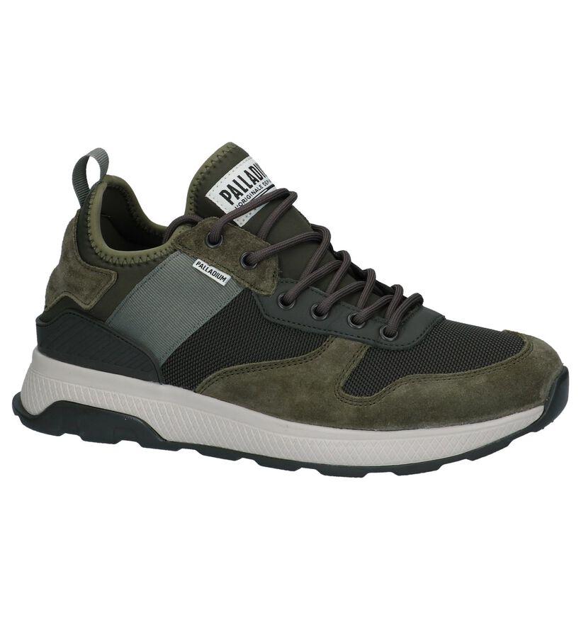 Palladium Axeon Army Kaki Slip-on Sneakers in stof (225418)