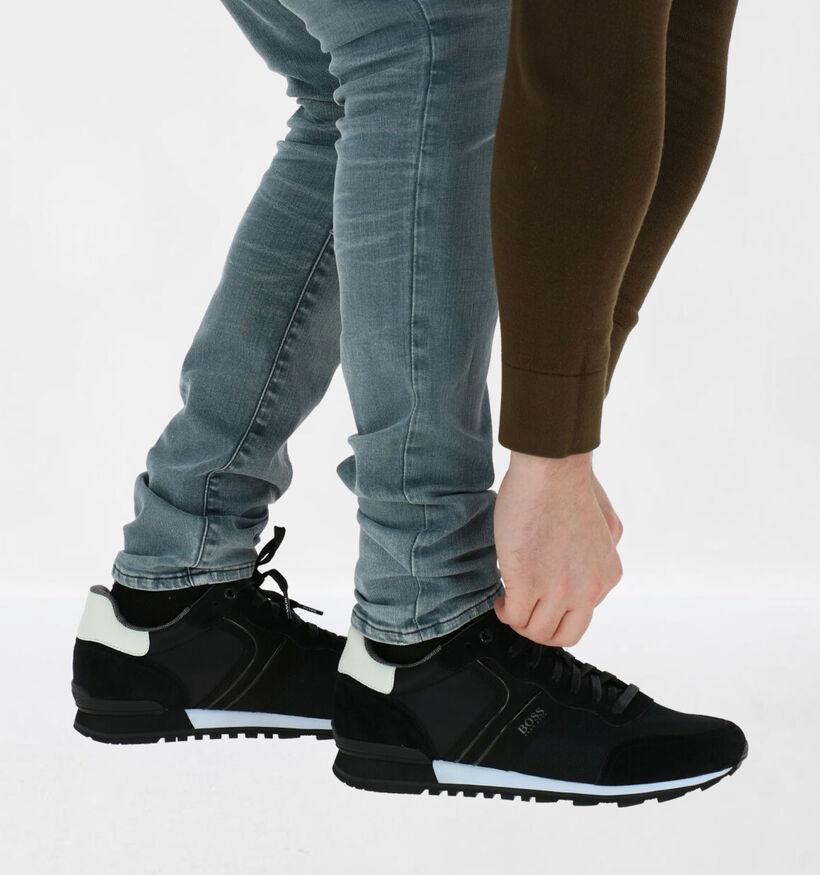 Hugo Boss Parkour Runn Chaussures à Lacets en Noir en daim (281717)