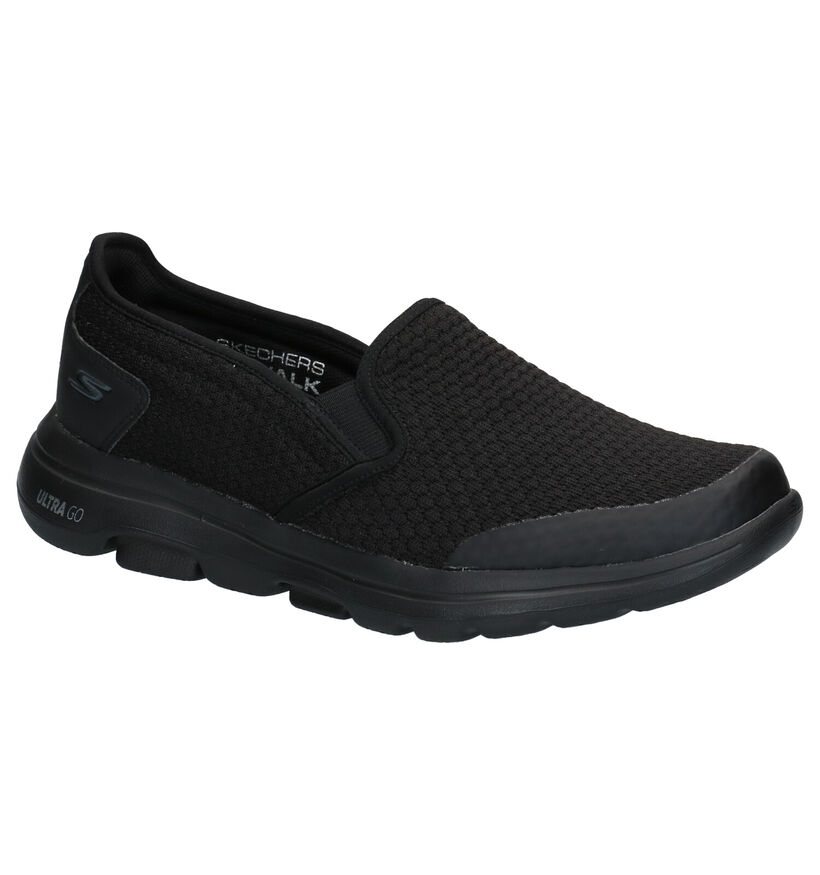 Skechers Go Walk Zwarte Slip-on Sneakers in kunstleer (277906)