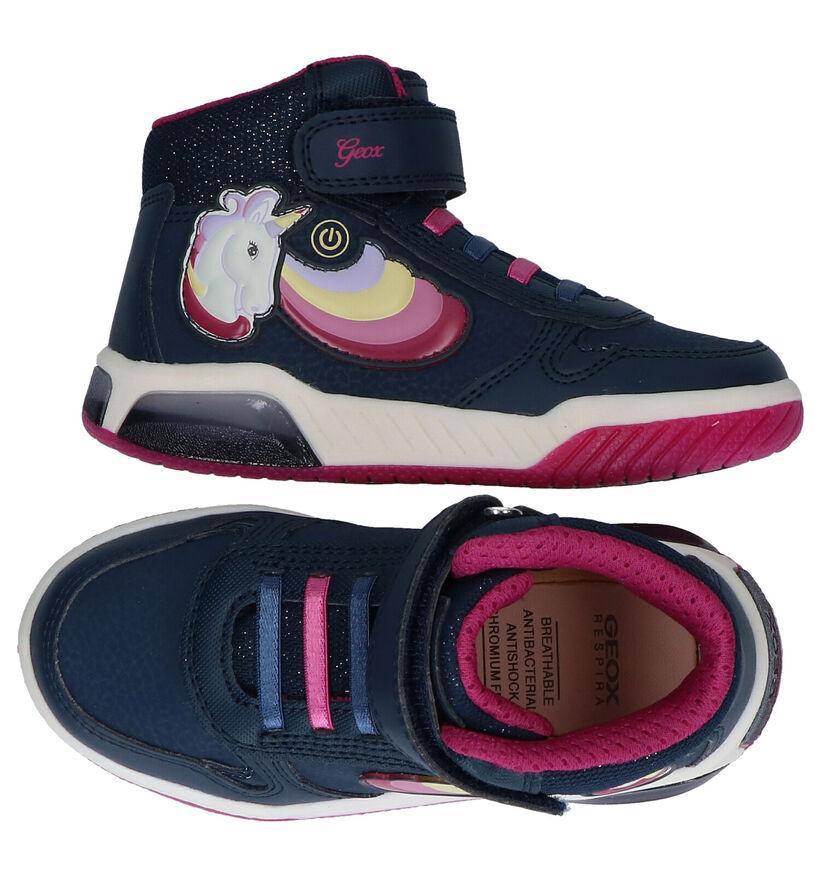 Geox Inek Blauwe Sneakers met Lichtjes in kunstleer (278278)