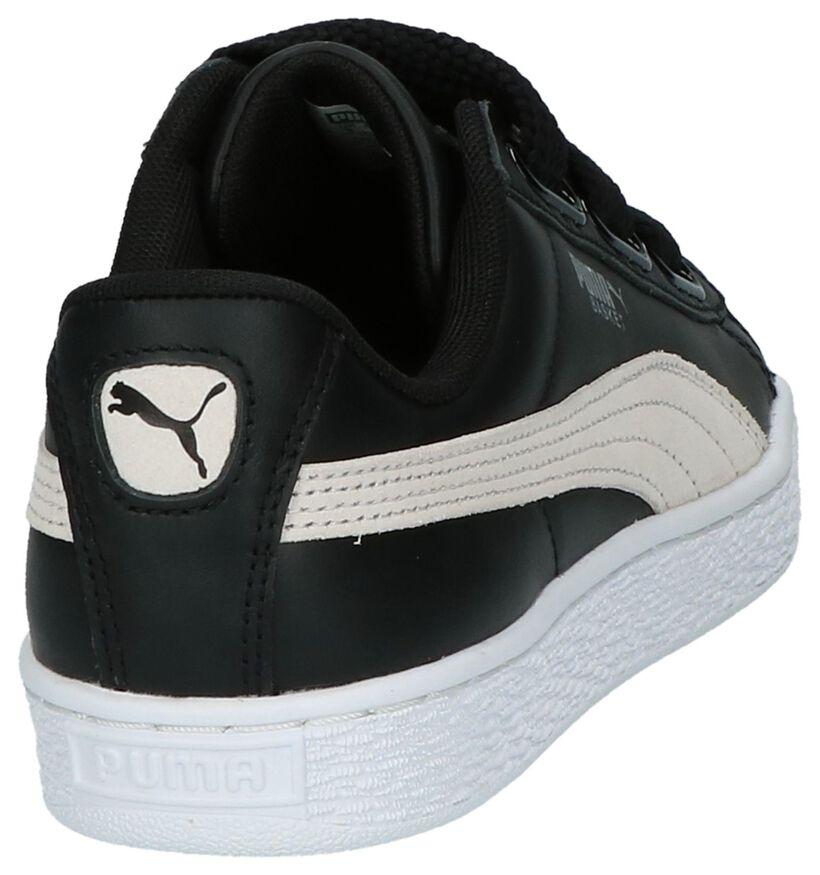 Puma Basket Heart Baskets basses en Noir en cuir (199464)