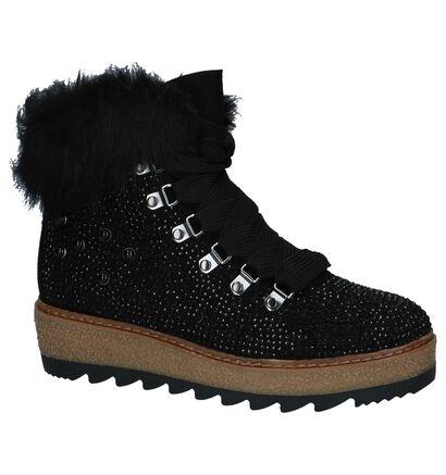 Tamaris TOUCH it Boots met Rits/Veter Zwart in stof (226710)