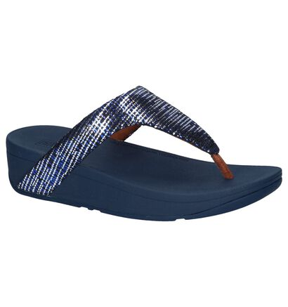 Zwarte Teenslippers FitFlop Lottie Chain Print in daim (240989)