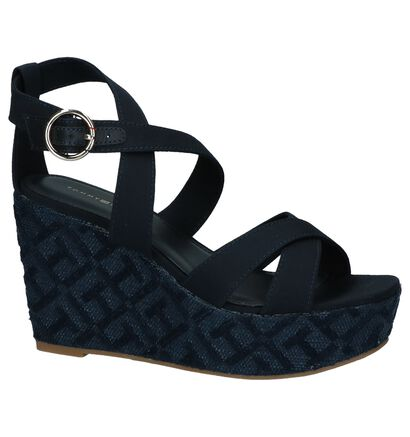 Tommy Hilfiger TH Pattern Wedge Sandal Donkerblauw, Blauw, pdp