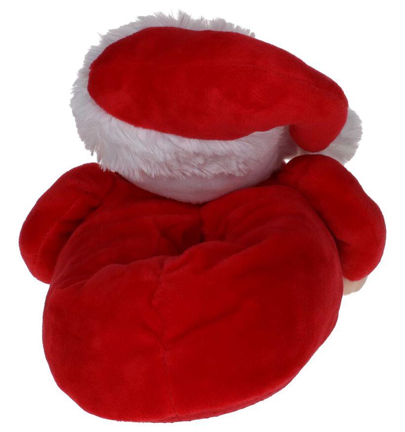 Rode Kerstman Pantoffels met Muziek Dazzle in stof (224153)