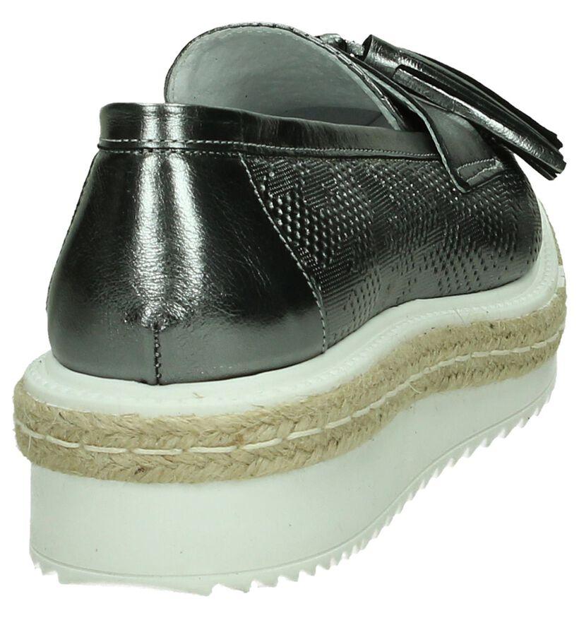 Zilveren Loafers Via Roma in leer (194475)