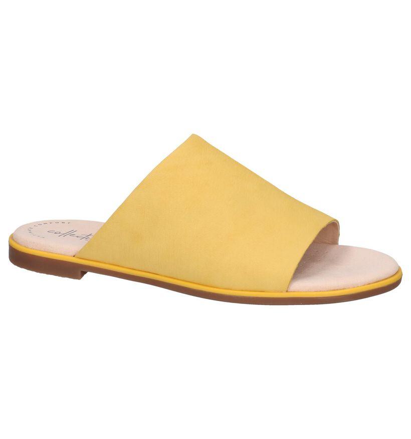 Gele Slippers Clarks Bay Petal in leer (241583)