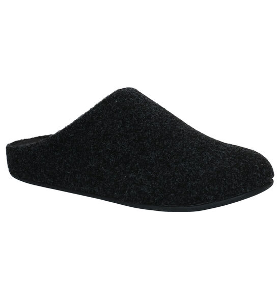 FitFlop Chrissie Felt Zwarte Pantoffels