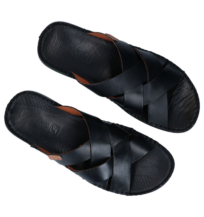 Pikolinos Tarifa Zwarte Slippers in leer (289158)