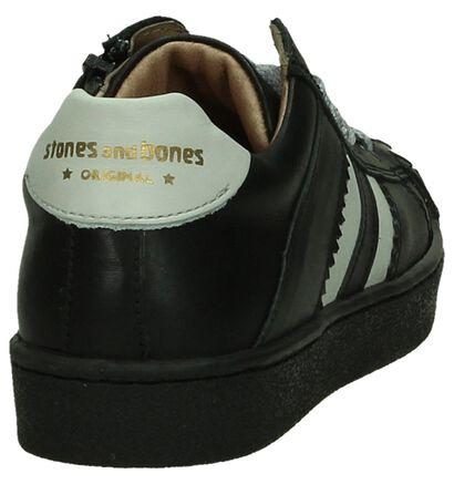 STONES and BONES Sonti Zwarte Schoenen Rits/Veter in leer (200624)