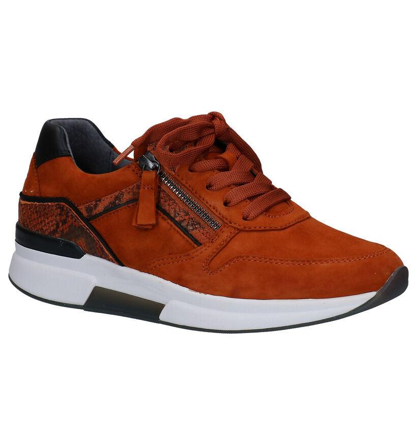 Gabor Rollingsoft Chaussures à Lacets en Orange en nubuck (283813)