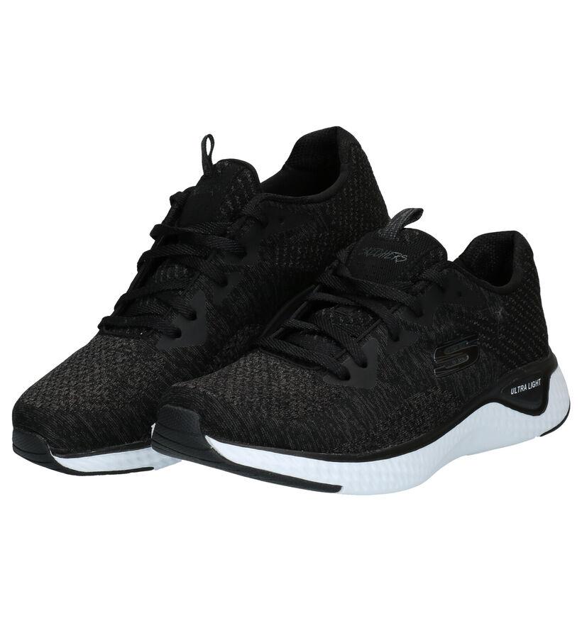 Skechers Solar Fuse Zwarte Sneakers in stof (277902)
