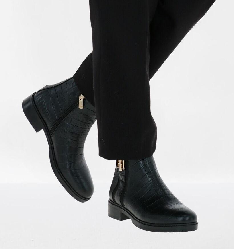 Tommy Hilfiger Croco Look Bottillons en Noir en cuir (281596)