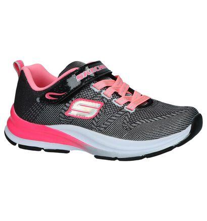 Zwart/Roze Sneakers Skechers Girl in stof (239562)