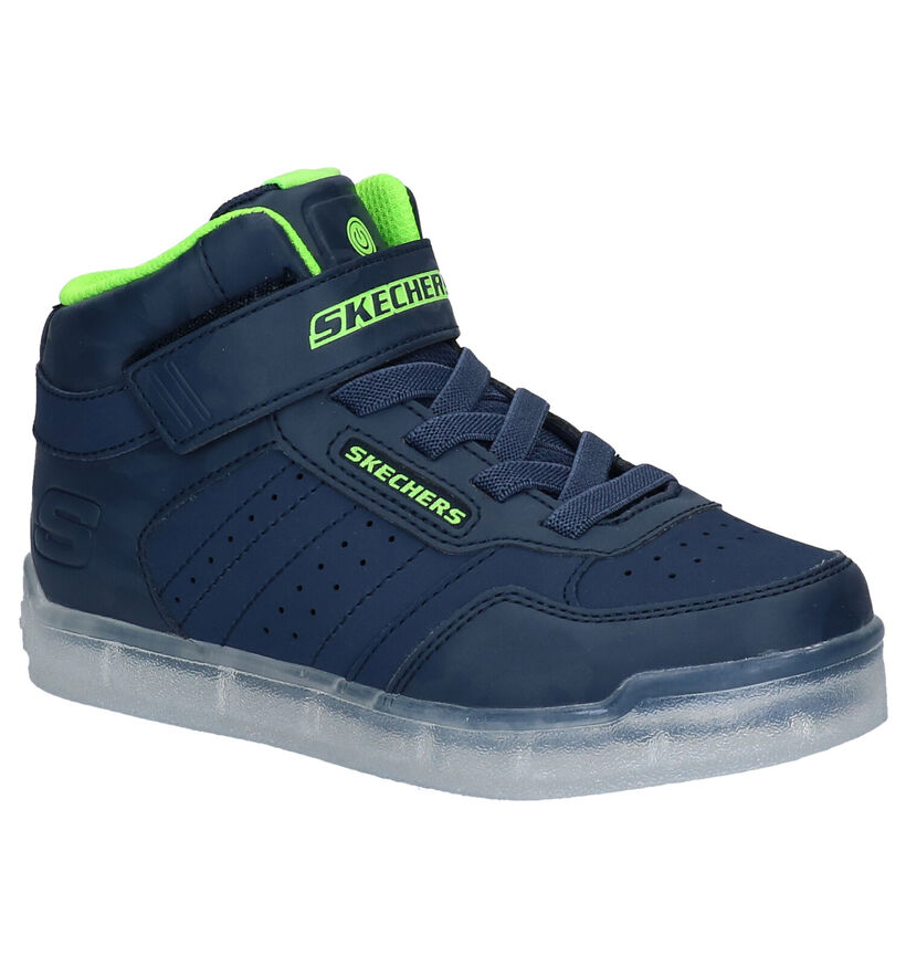 Skechers Ice Lights Baskets Haute en Bleu en simili cuir (279646)