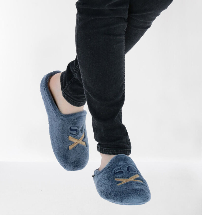 Scapa Blauwe Pantoffels in stof (281267)