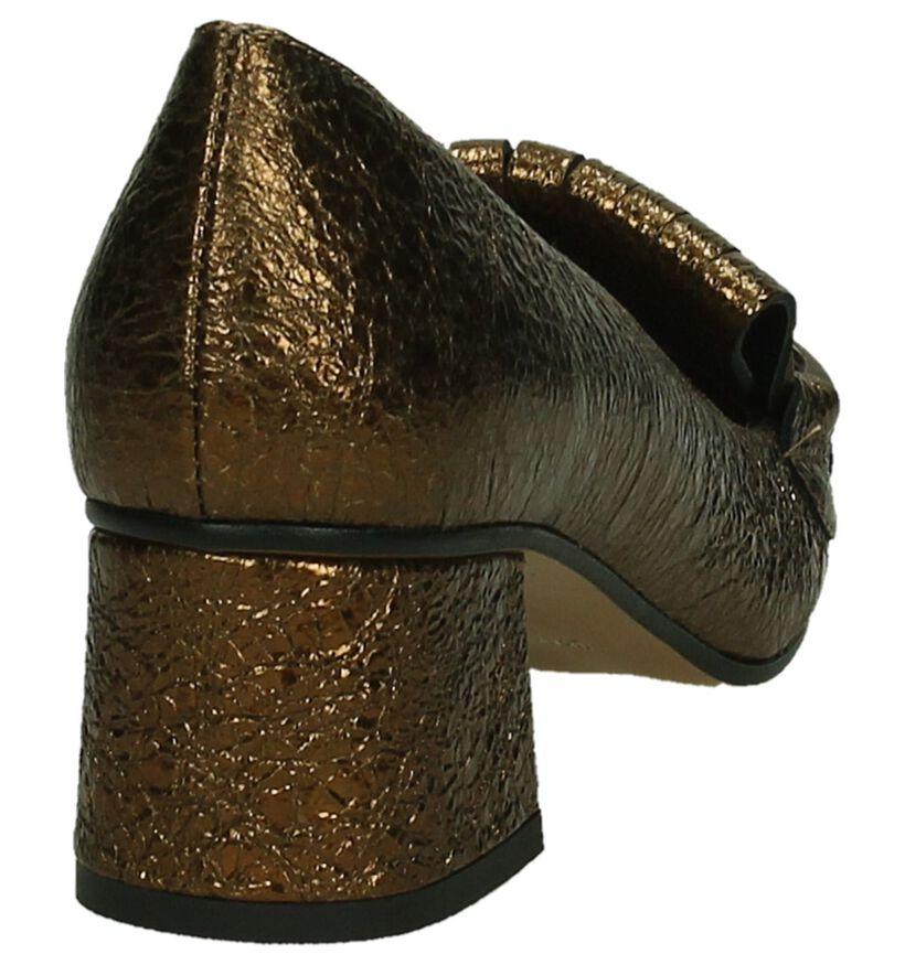 Bronzen Mocassins op Hak Via Roma, Brons, pdp