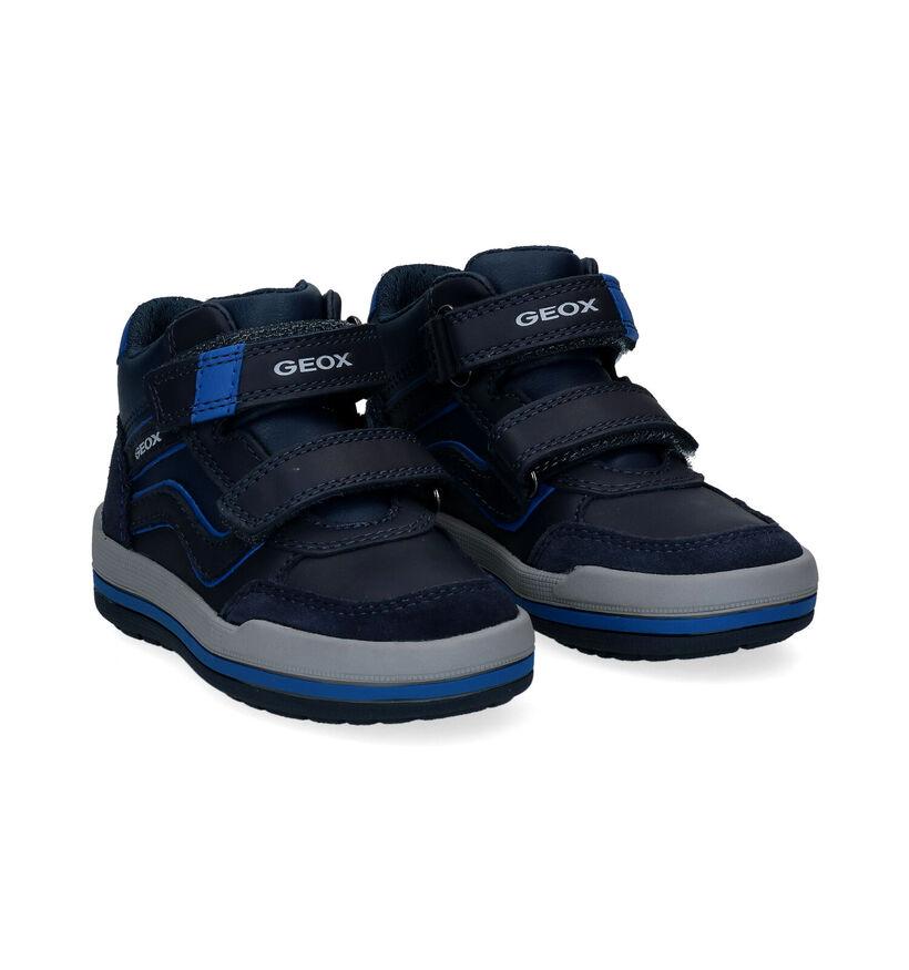 Geox Charz Blauwe Hoge Velcroschoenen in kunstleer (295104)