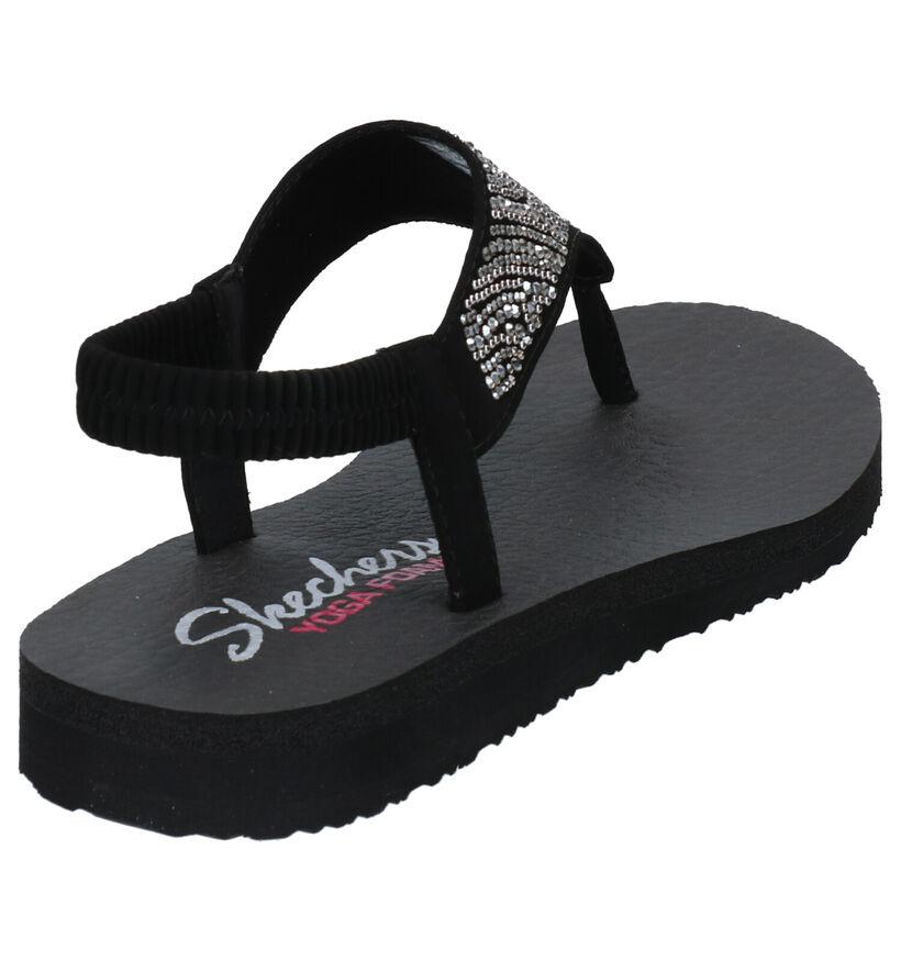 Skechers Sandales plates en Noir en simili cuir (272696)