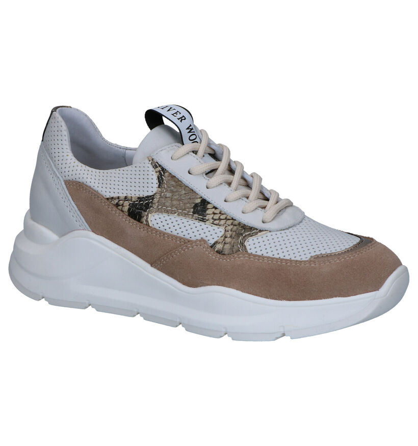 River Woods Anna Wit/Beige Sneakers in daim (271173)