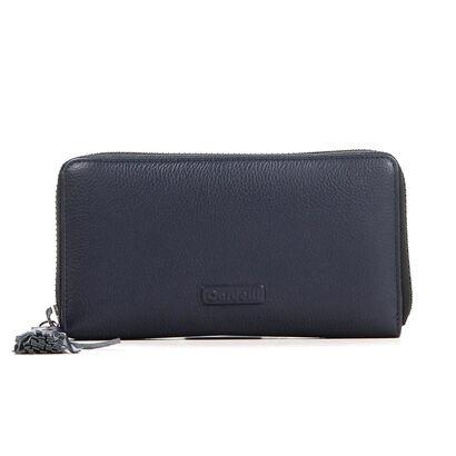 Donkerblauwe Ritsportemonnee Euro-Leather in leer (207692)