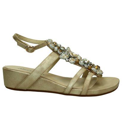 Gouden Sandalen Sleehak met Kralen Alma en Pena, Goud, pdp
