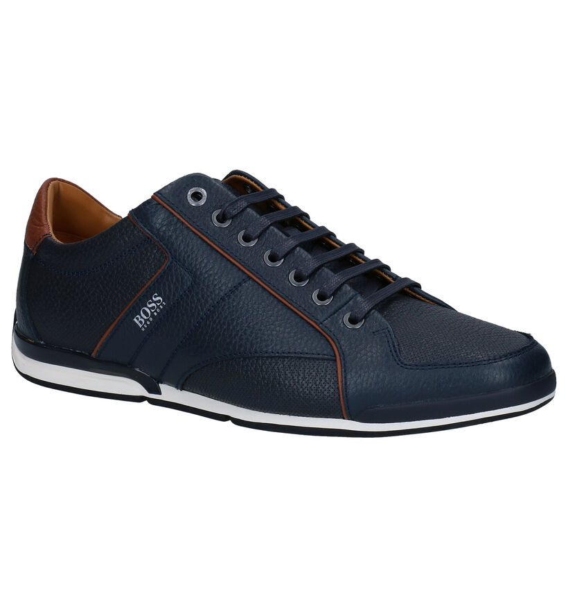 Hugo Boss Saturn Zwarte Veterschoenen in leer (257049)