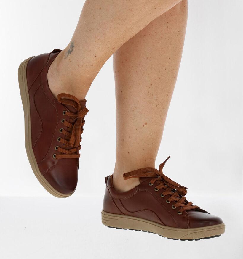 Jana Chaussures à lacets en Cognac en cuir (280894)