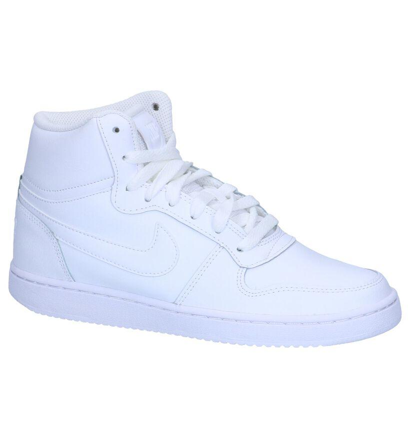 Nike Ebernon Baskets hautes en Blanc en cuir (250263)
