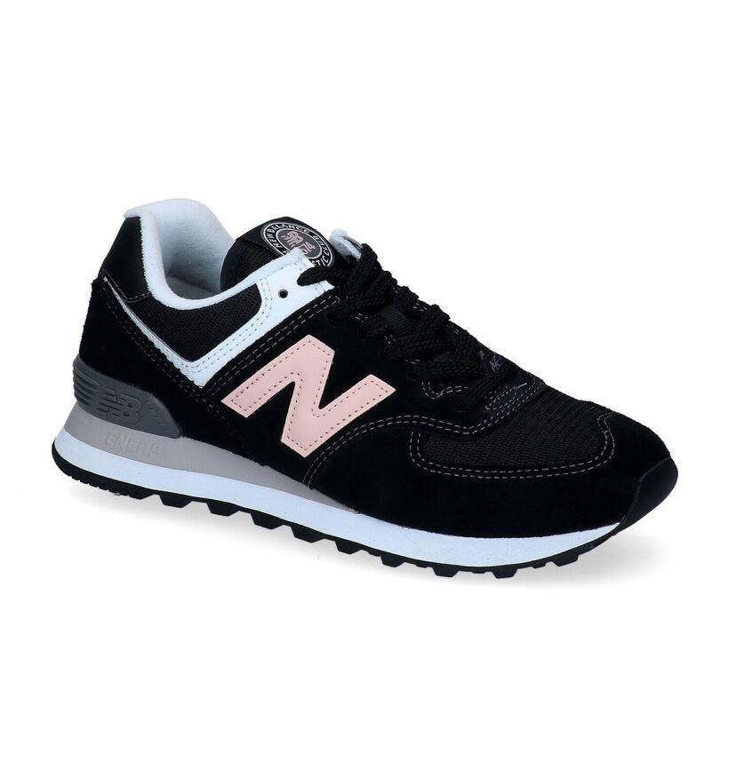 New Balance WL 574 Zwarte Sneakers in daim (293657)