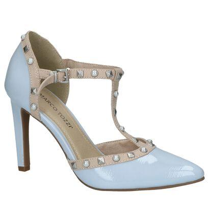 Licht Blauwe Laké Pumps High Heels met Studs in kunstleer (214430)