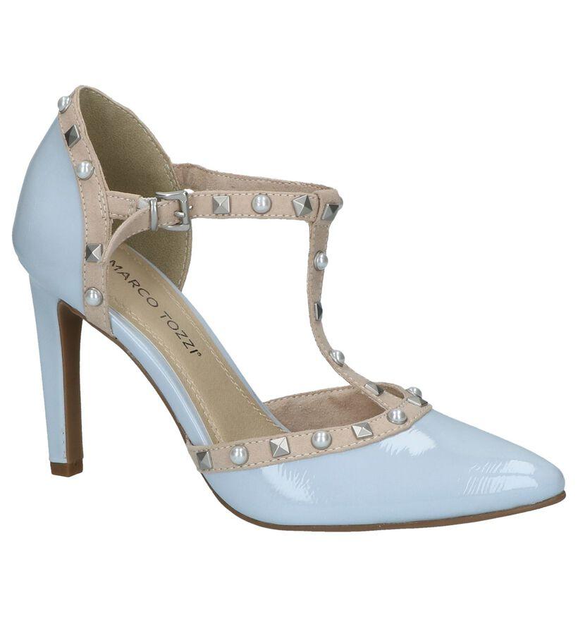 Marco Tozzi Escarpins à bride en Bleu clair en cuir verni (214430)