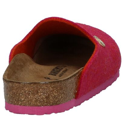 Birkenstock Amsterdam Nu-pieds plates en Rose fuchsia en textile (231582)