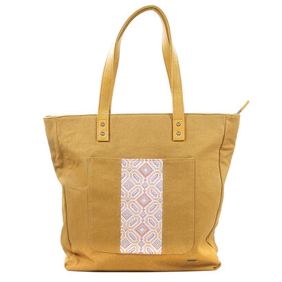 Roxy Cognac Shopper in stof (200447)