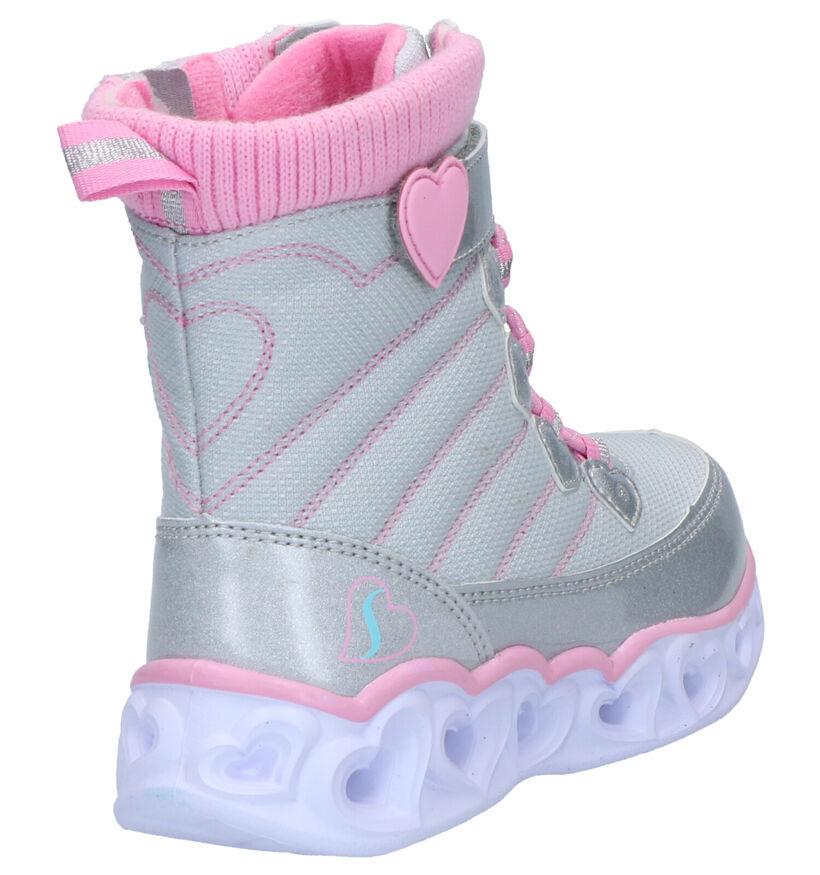 Skechers Heartlights Grijze Snowboots in stof (263424)