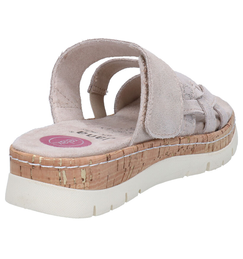 Jana Taupe Slippers in nubuck (270839)