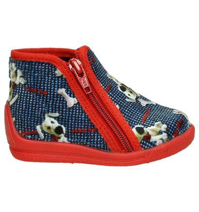 Blauw/Rode Bellamy Pantoffels met Hondenprint, Blauw, pdp
