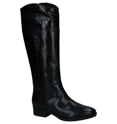 Geox Zwarte Lange Laarzen met Crocoprint in leer (223060)