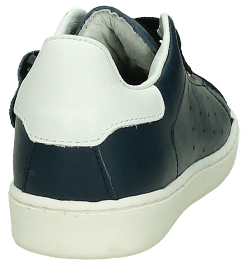 Hampton Bays Blauwe Lage Sneakers in leer (189350)