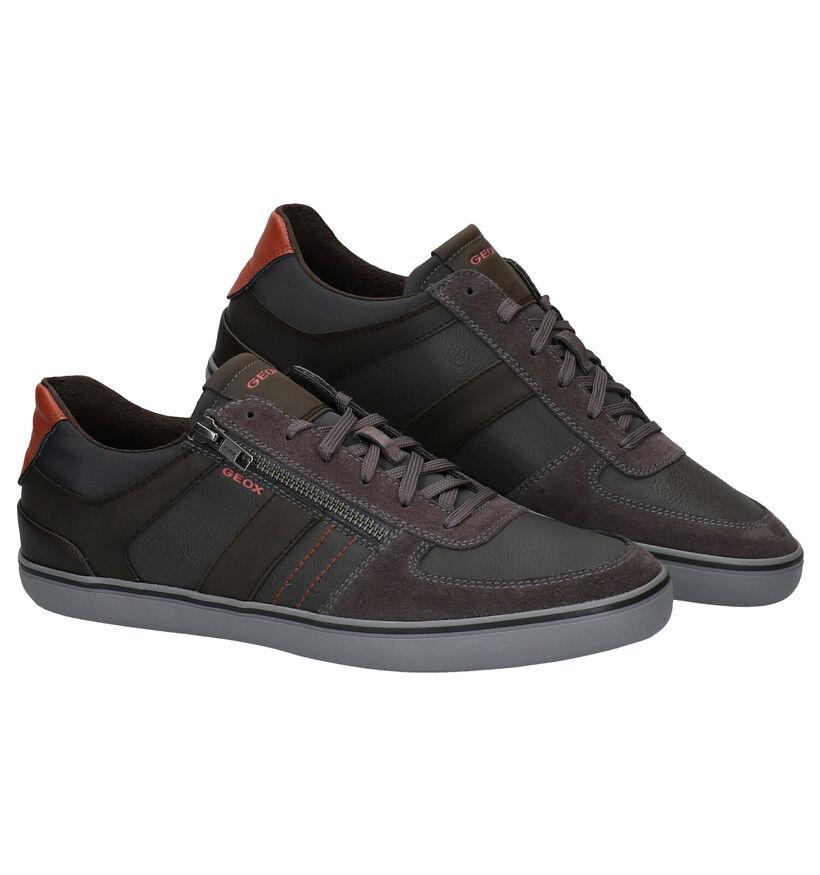 Geox Chaussures à Lacets en Gris/Brun en simili cuir (279095)